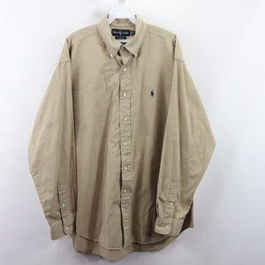 Vintage Ralph Lauren Blake Button Shirt Khaki Tan